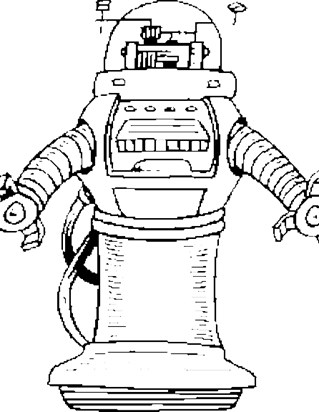robot with clamps coloring page