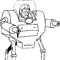 robot with guns coloring page