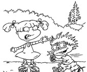 Phil And Lil Release A Balloon In Rugrats Coloring Page : Color Luna | 140x170