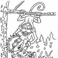 rugrats chuckie and monkey coloring page