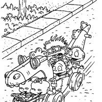 rugrats driving coloring page