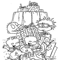 rugrats opening presents coloring page