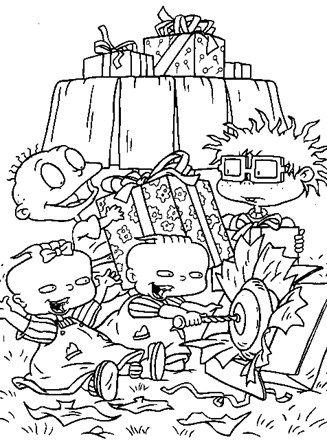 Rugrats Coloring Page Rugrats Opening Presents All Kids Network
