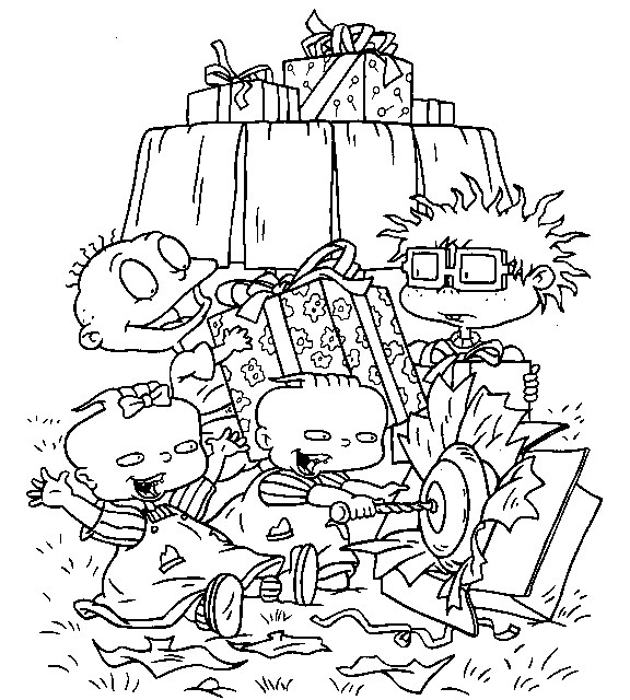 Rugrats Coloring Page - rugrats opening presents | All Kids