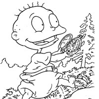 tommy with clock coloring page