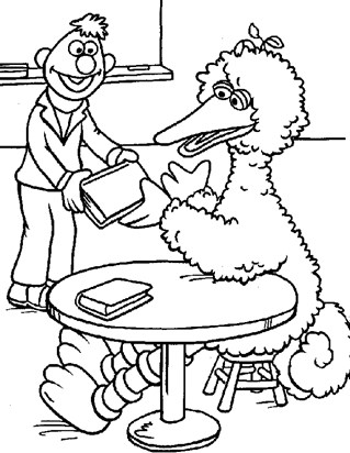 big bird at library coloring page