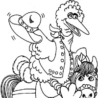 big bird on horse coloring page