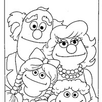 coloring sesame street family coloring page