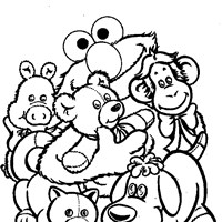 sesame street elmo animals coloring page