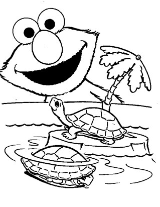 sesame street elmo turtles coloring page