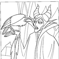 maleficent and crow coloring page