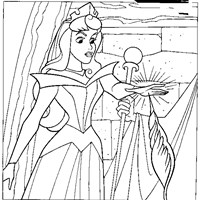 sleeping beauty pricking finger coloring page