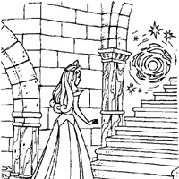 sleeping beauty spinning wheel coloring page