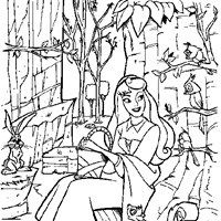 sleeping beauty woodland creatures coloring page
