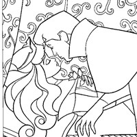 the kiss sleeping beauty coloring page