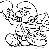 smurf delivering mail coloring page