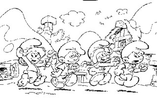 smurfette and friends coloring page