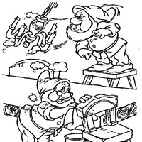 dwarves cleaning coloring page