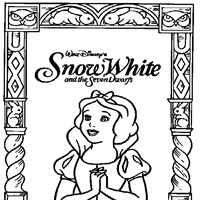 snow white framed coloring page
