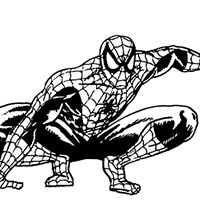 spiderman crouching coloring page