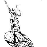 swinging spiderman coloring page