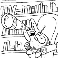 patrick spying coloring page