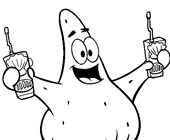 patrick with drinks coloring page