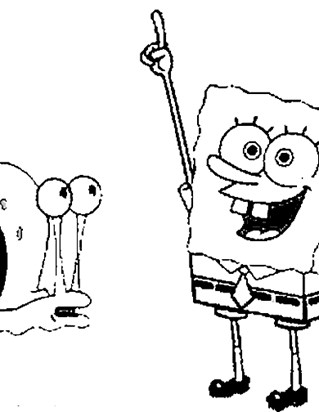 sponge bob and gary coloring page