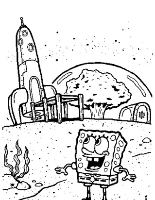 sponge bob by city coloring page