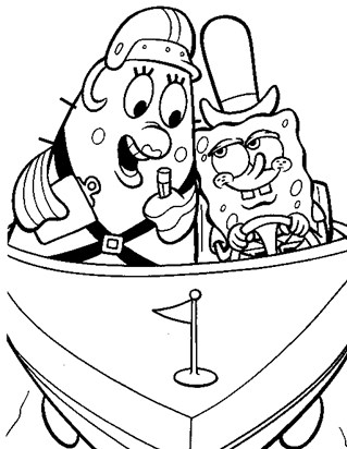 sponge bob driving boat coloring page