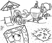 sponge bob on beach coloring page