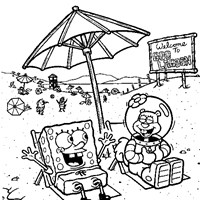 sponge bob sandy beach coloring page