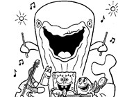 sponge bob singing with whale coloring page