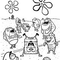 sponge bob square pants playing coloring page