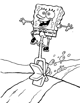 spongebob riding unicycle coloring page