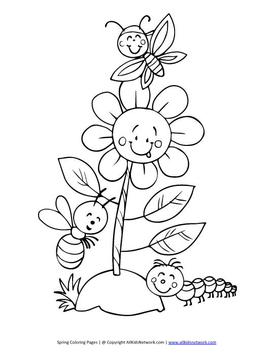 Spring Flower Coloring Page All