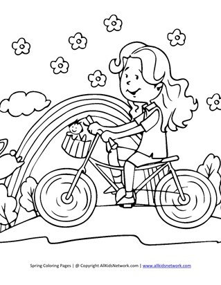 girl on bike coloring page