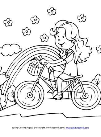 Riding Bike In Spring Coloring Page All Kids Network