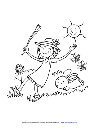 spring playing outside coloring page
