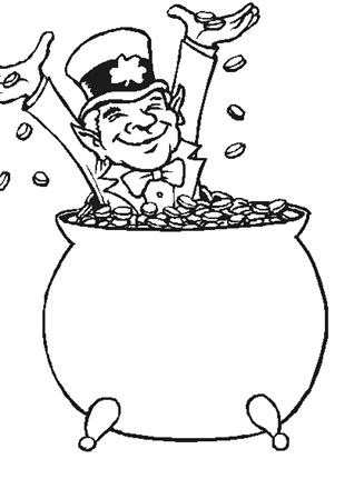 st patricks day pot of gold coloring page