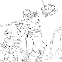 jedi training star wars coloring page