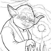yoda fire coloring page