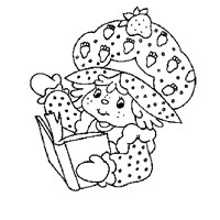 strawberry shortcake reading coloring page