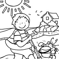 beach summer coloring page
