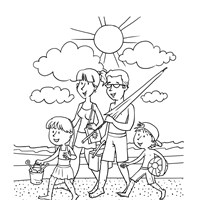 Beach Vacation Coloring Page