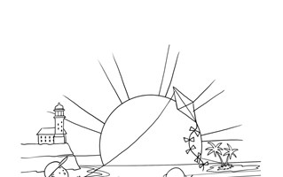 Family at the Beach Coloring Page
