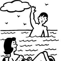 floating pool coloring page