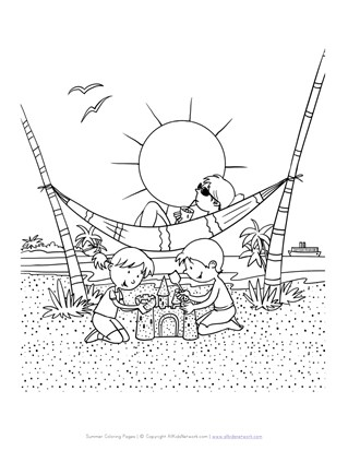 Fun at the Beach Coloring Page