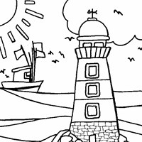 lighthouse beach coloring page