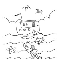 Boat and Ocean Animals Coloring Page